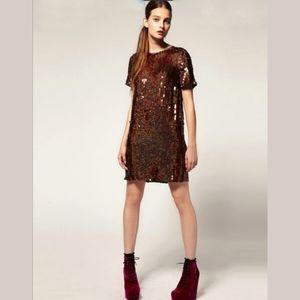 ASOS Revive Sequin brown dress NEW mini party